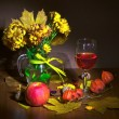 Autumn bouquet and wine — Stock Photo