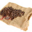 Burlap bag with cofee bean — Stock Photo #20079847