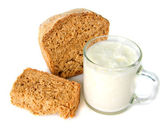 Domácí chléb a domácí jogurt — Stock fotografie