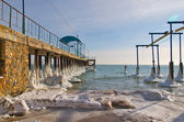 Ice-covered pier — Stok fotoğraf
