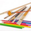 Watercolor pencils and brushes — Stock Photo #22603367