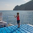 Boy on ship — Stock Photo