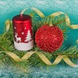 Christmas decorations with candle and spruce — ストック写真