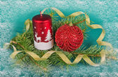 Christmas decorations with candle and spruce — Stok fotoğraf