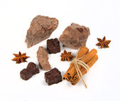 Chocolate and candy with spice — Stock Photo