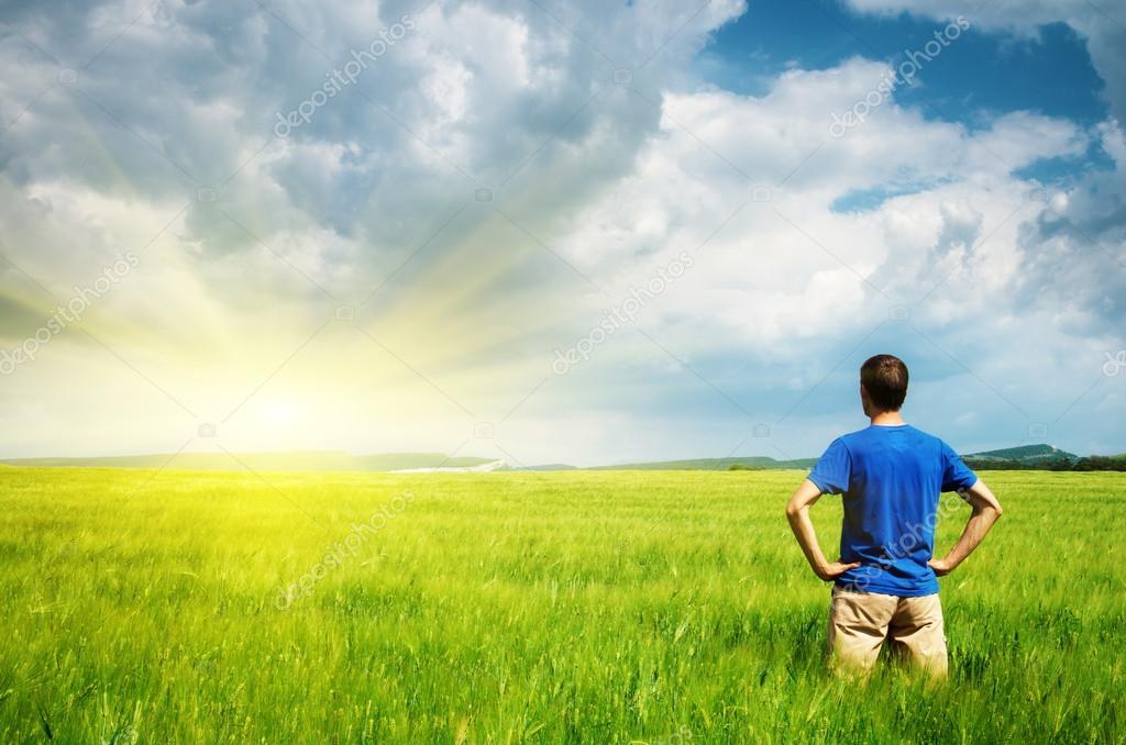 Man in meadow green meadow. � Stock Photo � zatvor #44054251
