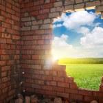 Broken bricks wall — Stock Photo #45725951