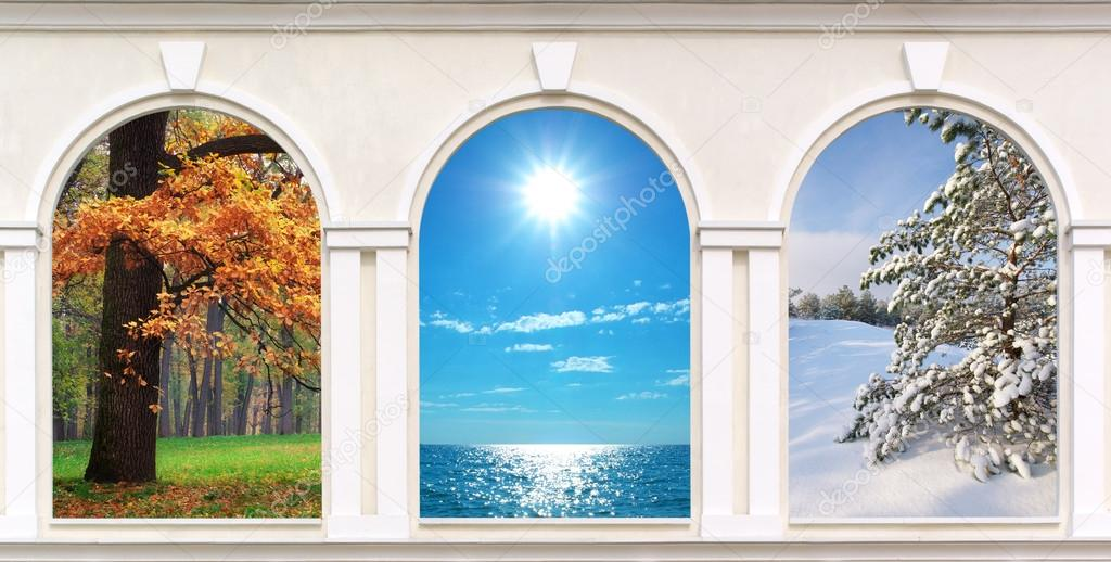 Windows of seasons � Stock Photo � zatvor #47527015