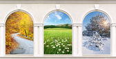 Windows of seasons — Stock Photo