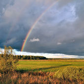 Natural rainbow over autumn field and dark sky. — Stock Photo