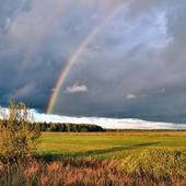 Natural rainbow over autumn field and dark sky. — Stock Photo