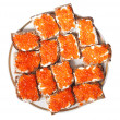Bread with red caviar — Stock Photo #19427985