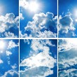 Collection blue sky with thick clouds — Stock Photo