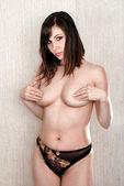 Naked brunette — Стоковое фото