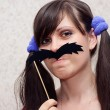 Stock Photo: Womwith mustache