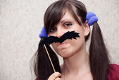 Woman with mustache — Stock Photo