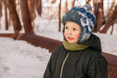 Little boy  in winter — Stock Photo