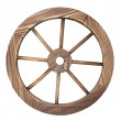 Old wooden wagon wheel on white — Stock Photo #15452069