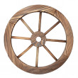 Old wooden wagon wheel on white — Stock Photo