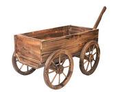 Chariot en bois vintage, isolé sur blanc — Photo