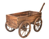 Vintage wooden cart isolated on white — Stok fotoğraf