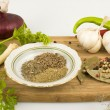 Various spices on a cutting board — Stock Photo
