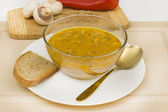 Soup with mushrooms and lentils — Stock Photo
