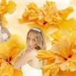 Royalty-Free Stock Photo: Collage bride on a background of yellow hibiscus