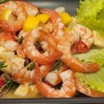 Fried King prawns with lemon — Stock Photo #24526717