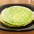 Pancakes with spinach — Stock Photo