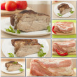 Collage of pork foods — Stock Photo