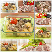 Collage foods roast lamb — Stock Photo