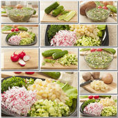 Collage hash vegetable foods — Stock Photo