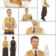 Male waiter in a special form — Stock Photo