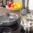 Ceramic hob with pans — Stock Photo #39101489