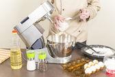 Cook prepares dough for pancakes — Foto de Stock
