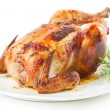 Roast chicken isolated on white background — Stock Photo