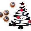 Cupcakes  and sweet  christmas tree - Stock Photo