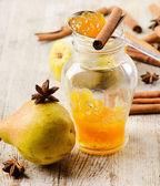 Pears jam with cinnamons — Stock Photo
