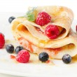 Stock Photo: Crepes with berries and mint