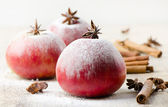 Christmas apples and spices — Stock Photo