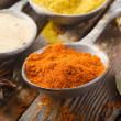 Assortment of powder spices on spoons — Stock Photo #13935724