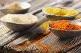 Assortment of powder spices on spoons — Photo