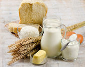 Bread and dairy products — Stock Photo