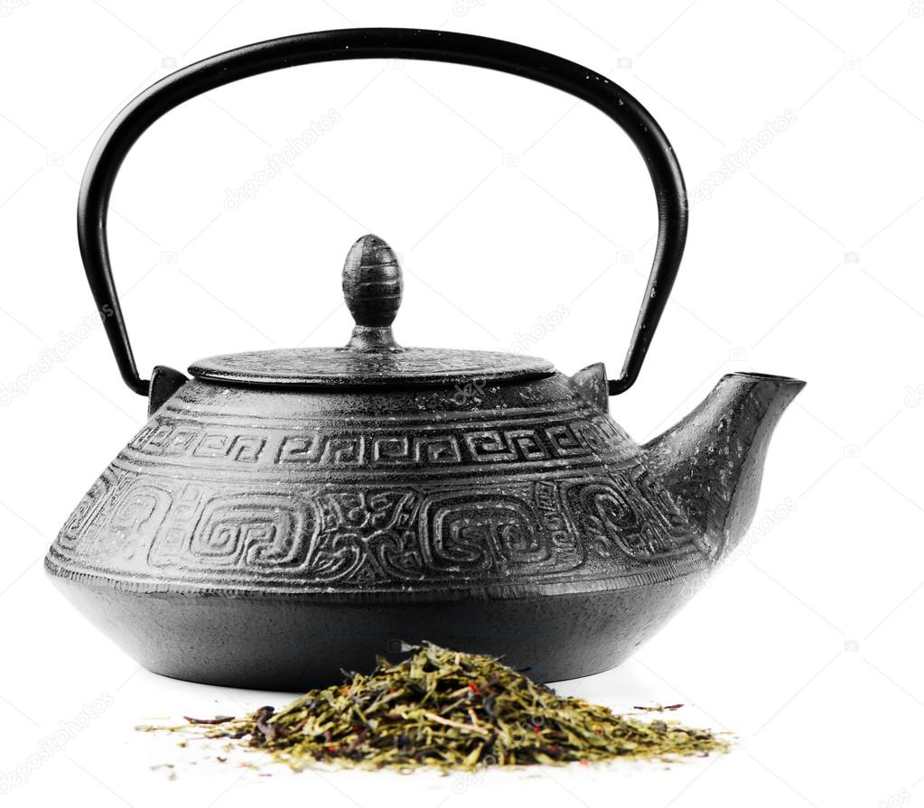 Green tea and teapot isolated on white — Stock Photo #14754291
