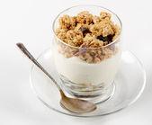 Healthy breakfast - yogurt with muesli — Stock Photo