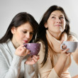Two   young women drinking tea — Stock Photo