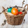 Easter eggs in the basket — Stock Photo