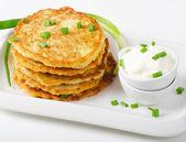 Potato Pancake with Sour Cream — Stock Photo