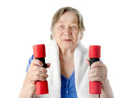 Active senior woman isolated on white — Stock Photo